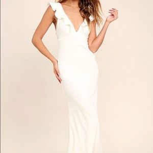 Lulu's PERFECT OPPORTUNITY WHITE MAXI DRESS